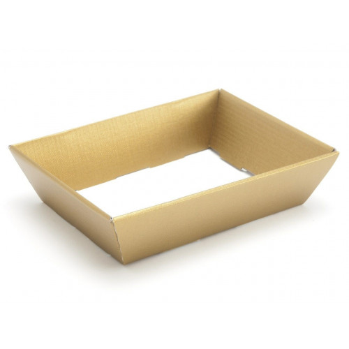 Small Shallow Gold Elegant Texture-Embossed Matt Finish Card Hamper Tray 45mm (D) -180 x 126mm at Top Tapering to 148 x 102mm at the Bottom