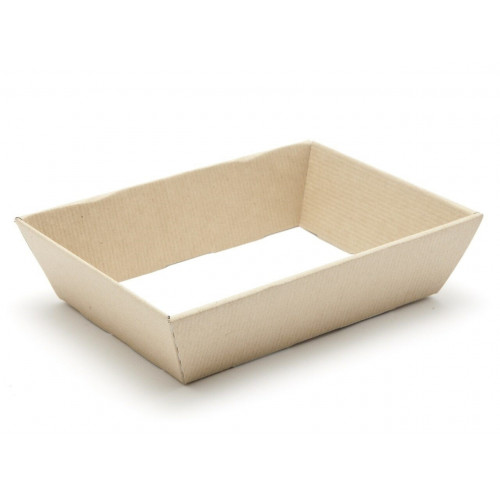 Small Shallow Ribbed Kraft Texture Finish Card Hamper Tray 45mm (D) -180 x 126mm at Top Tapering to 148 x 102mm at Bottom