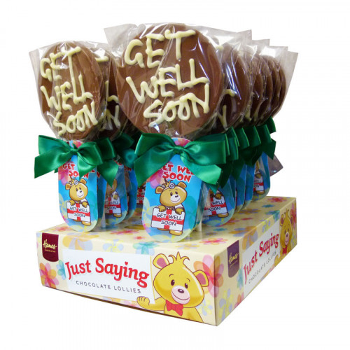 Sentiment Just Saying Chocolate Lollipops Finished with a Swing Tag & Twist Tie Bow - Get Well Soon  x Outer of 18