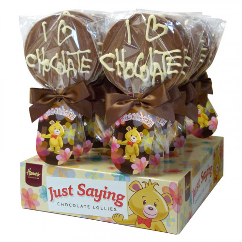 Sentiment Just Saying Chocolate Lollipops Finished with a Swing Tag & Twist Tie Bow - Chocoholic  x Outer of 18