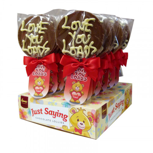 Sentiment Just Saying Chocolate Lollipops Finished with a Swing Tag & Twist Tie Bow - Love You Loads