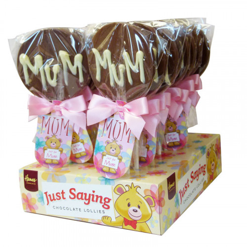 Sentiment Just Saying Chocolate Lollipops Finished with a Swing Tag & Twist Tie Bow - Just For Mum  x Outer of 18