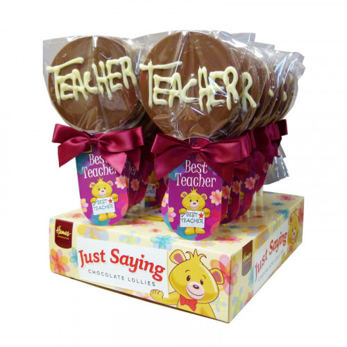 Sentiment Just Saying Chocolate Lollipops Finished with a Swing Tag & Twist Tie Bow - Best Teacher  x Outer of 18