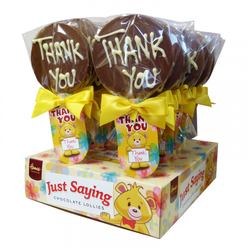 Sentiment Just Saying Chocolate Lollipops Finished with a Swing Tag & Twist Tie Bow - Thank You x Outer of 18