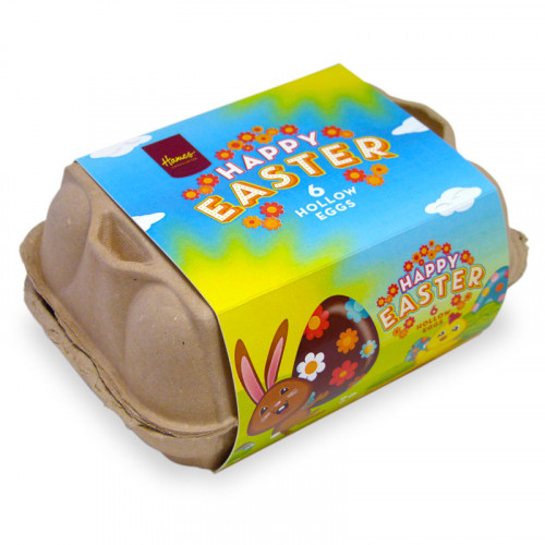 Hames - Happy Easter Egg Carton With 6 x 25g Milk Chocolate Hen Size Eggs Wrapped  in Gold Foil With Sleeve x Outer of 6