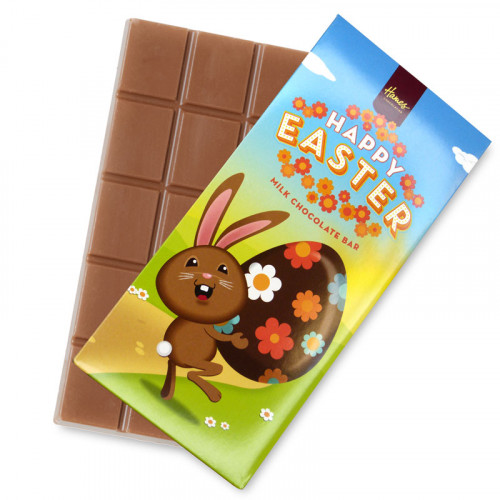 Hames - Happy Easter 80g Milk Chocolate Bar Presented in a Cute Brown Rabbit Card Sleeve Design