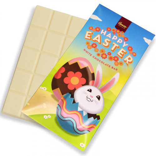 Hames - Happy Easter 80g White Chocolate Bar Presented in a Cute White Rabbit Rabbit Card Sleeve Design x Outer of 12