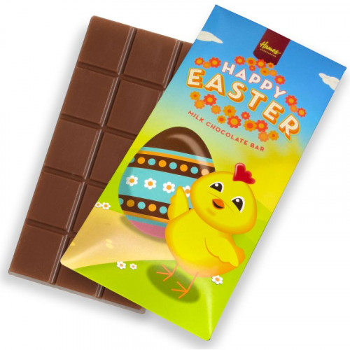 Hames - Happy Easter 80g Milk Chocolate Bar Presented in a Cute Yellow Chick Card Sleeve Design x Outer of 12