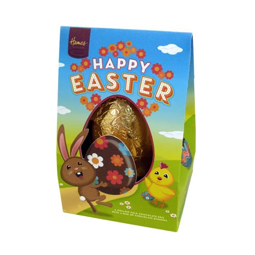 Hames - Happy Easter Milk Chocolate Egg with Bunnies 125g -Wrapped  in Gold Foil and Presented in a Cute Brown Rabbit Tetra Box