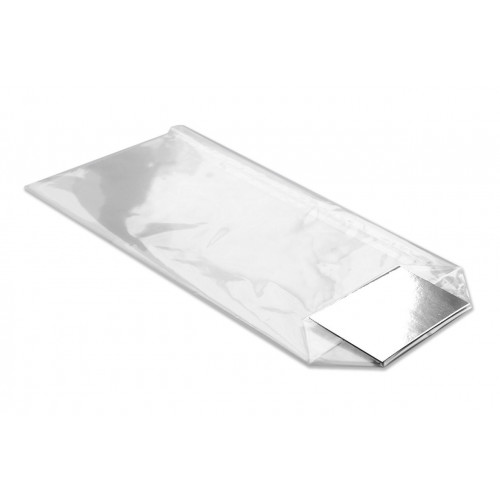 Small Clear Hard Bottom Film Bag with a Silver Card Base 100mm x 220mm