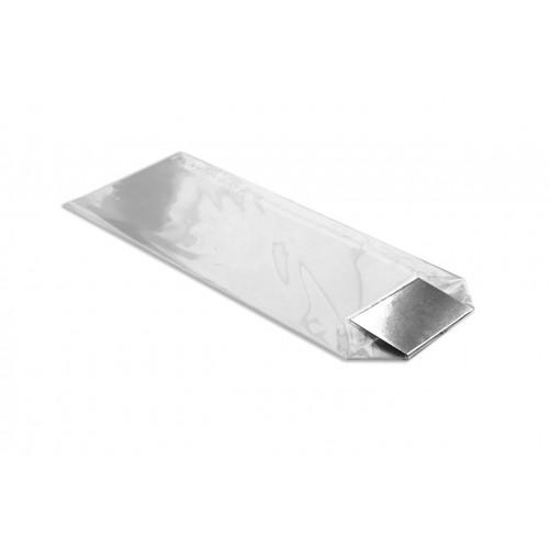 Medium Clear Hard Bottom Film Bag with a Silver Card Base 120mm x 275mm