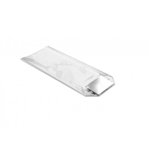 Large Clear Hard Bottom Film Bag with a Silver Card Base 140mm x 305mm