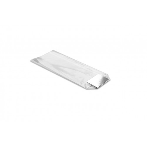 X-Large Clear Hard Bottom Film Bag with a Silver Card Base 170mm x 320mm