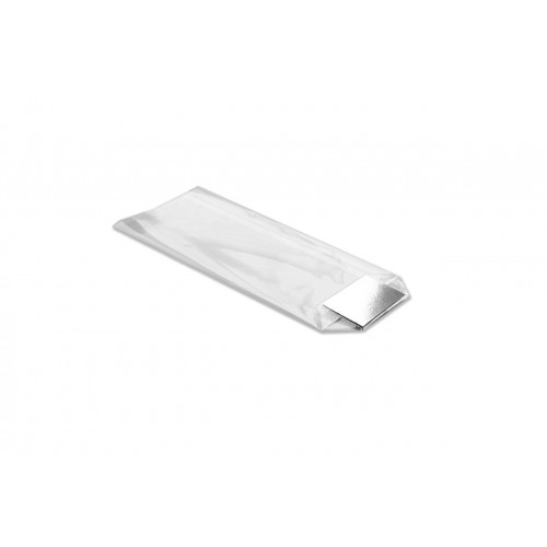 XX-Large Clear Hard Bottom Film Bag with a Silver Card Base 210mm x 385mm