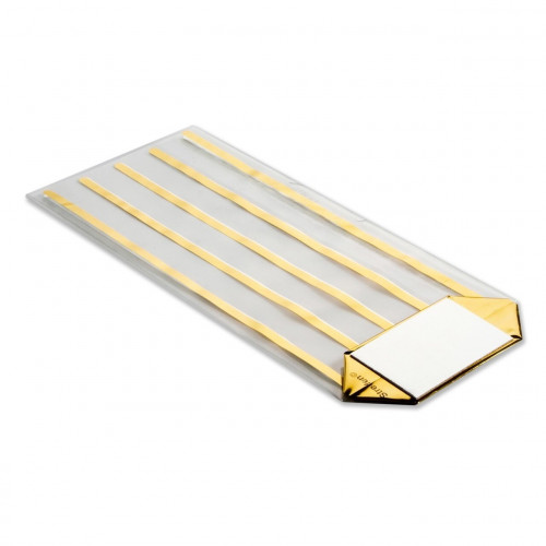 Small Gold Striped Clear Hard Bottom Film Bag with a Silver Card Base 100mm x 220mm