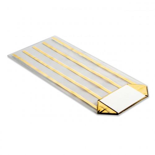Medium Gold Striped Clear Hard Bottom Film Bag with a Silver Card Base 120mm x 275mm