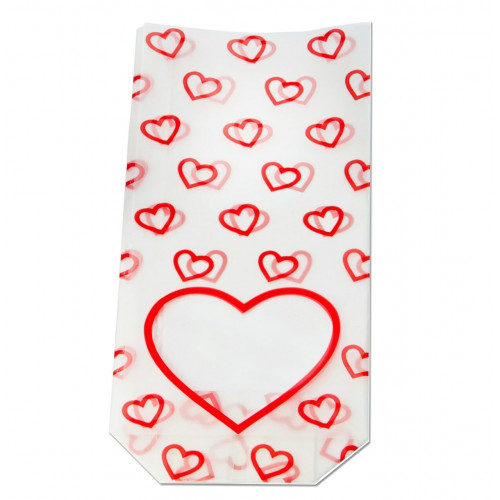 Frosted Red Heart Window Design Hard Bottom Base Film Bag with (No Card) 100mm x 220mm