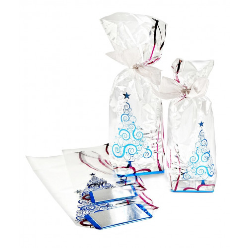 Metallic Xmas Tree Design Hard Bottom Film Bag with a Silver Base Card 100mm x 220mm