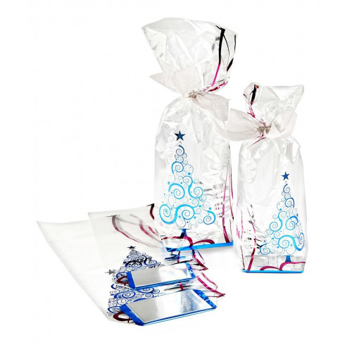 Metallic Xmas Tree Design Hard Bottom Film Bag with a Silver Base Card 120mm x 275mm
