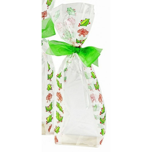 Frosted Holly Design Hard Bottom Film Bag with a Silver Base Card 100mm x 220mm