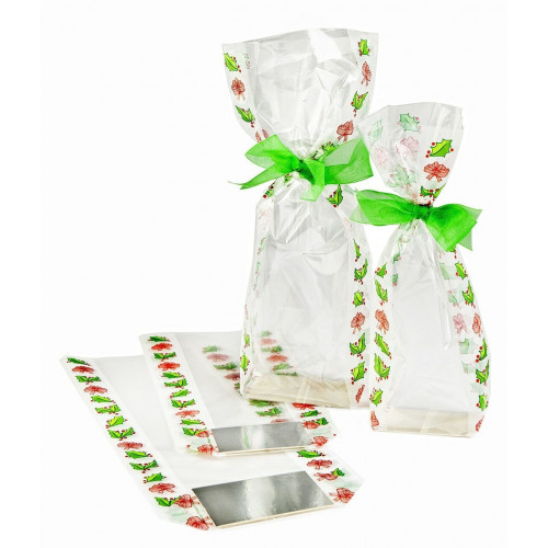 Frosted Holly Design Hard Bottom Film Bag with a Silver Base Card 120mm x 275mm