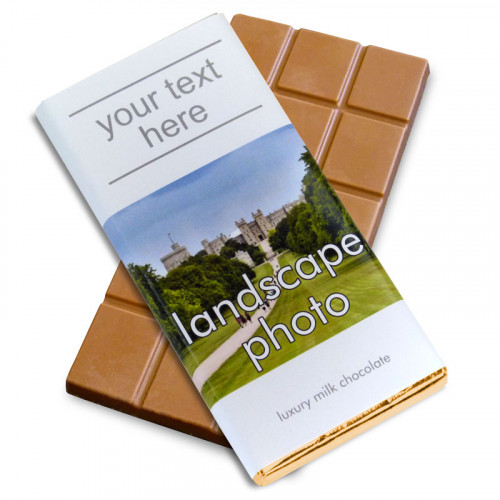 Heritage Souvenir Gift - Milk Chocolate 80g Bar Wrapped in Gold Foil Finished in a White Wrapper with a Photograph & Text of your Choice (Landscape)