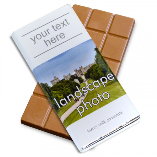 Heritage Souvenir Gift - Milk Chocolate 80g Bar Wrapped in Silver Foil Finished in a White Wrapper with a Photograph & Text of your Choice (Landscape)
