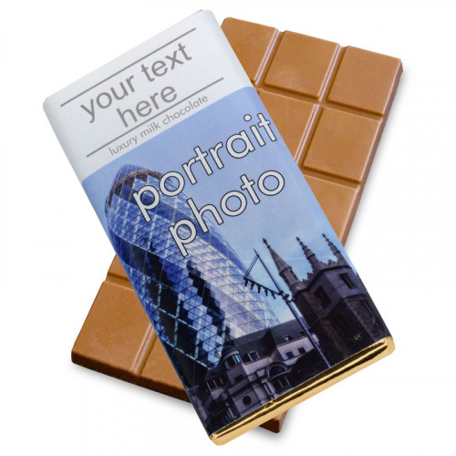 Heritage Souvenir Gift - Milk Chocolate 80g Bar Wrapped in Gold Foil Finished in a White Wrapper with a Photograph & Text of your Choice (Portrait)