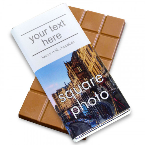 Heritage Souvenir Gift - Milk Chocolate 80g Bar Wrapped in Silver Foil Finished in a White Wrapper with a Photograph & Text of your Choice (Square)