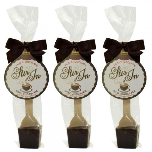 Hames - Dark Hot Chocolate Stirrer 35g With Brown Twist Tie Bow & Swing Tag