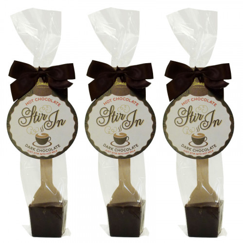 Hames - Dark Hot Chocolate Stirrer 35g With Brown Twist Tie Bow & Swing Tag