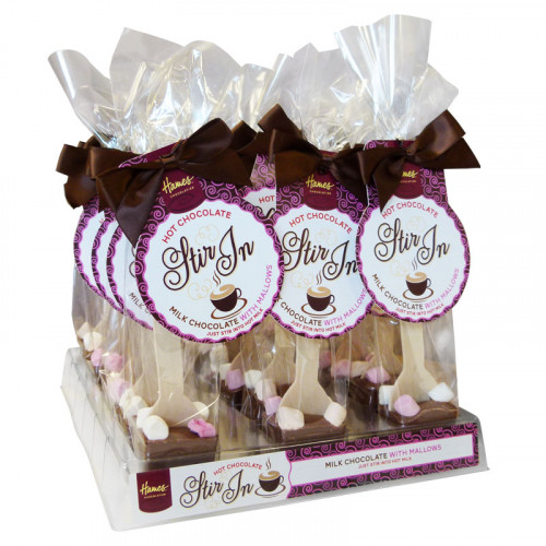 Hames - Milk Chocolate With Mini Mallows Hot Chocolate Stirrer Brown Twist Tie Bow & Swing Tag 35g x Outer of 18
