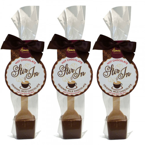 Hames - Milk Hot Chocolate Stirrer 35g With Brown Twist Tie Bow & Swing Tag