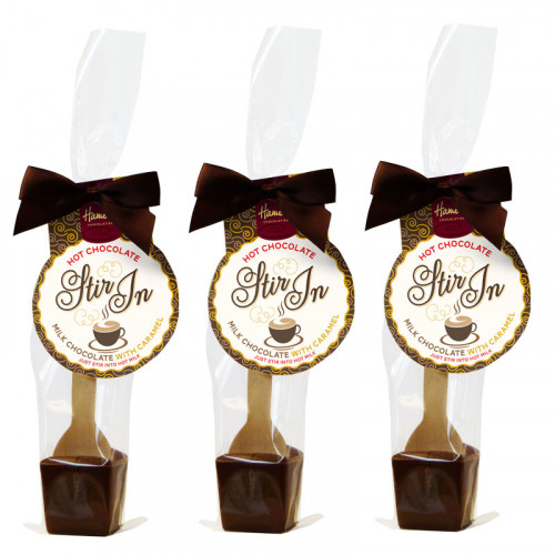 Hames - Milk Chocolate with Caramel Flavour Hot Chocolate Stirrer 35g Brown Twist Tie Bow & Swing Tag