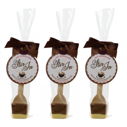 Hames - Milk and White Chocolate with Mocha Flavouring Hot Chocolate Stirrer 35g Brown Twist Tie Bow & Swing Tag