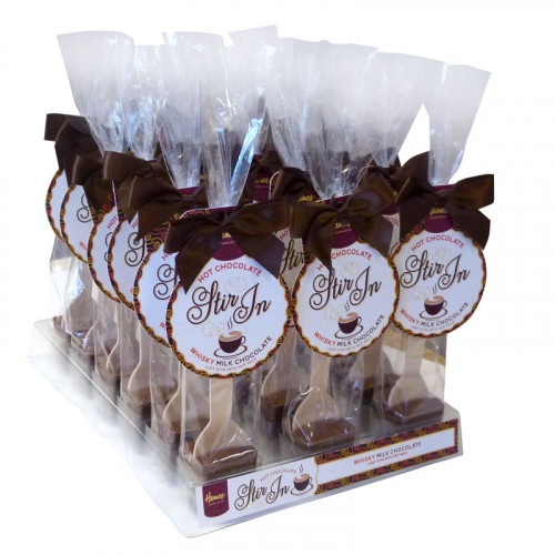 Hames - Milk Chocolate with Whisky Flavouring Hot Chocolate Stirrer 35g Brown Twist Tie Bow & Swing Tag x Outer of 18