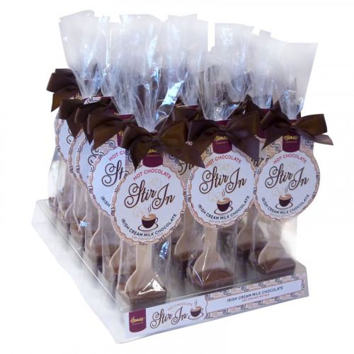 Hames - Milk Chocolate with Irish Cream Flavouring Hot Chocolate Stirrer 35g Brown Twist Tie Bow & Swing Tag x Outer of 18