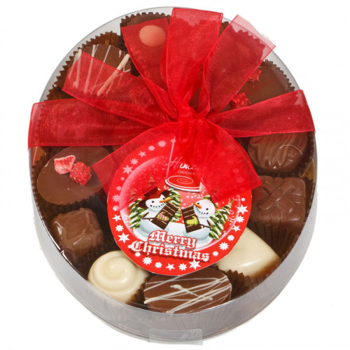 Christmas Snow Globe - Clear Boxed Chocolate Assortment (Large) 220g Finished with a Beautiful Hand Tied Red Ribbon & Swing Tag x Outer