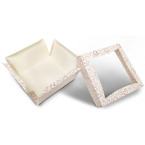 Large Patisserie Cake Box with Heart Design  - Single Wall Base & Fold-Up Window Lid 185mm x 185mm x 100mm Self-assemble