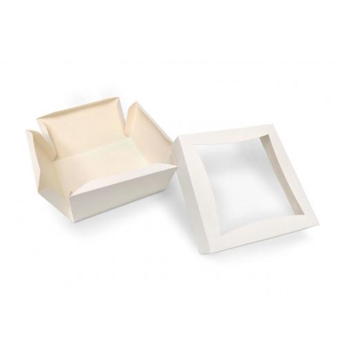 Large White Patisserie Cake Box - Single Wall Base & Fold-Up Window Lid 185mm x 185mm x 100mm Self-assemble