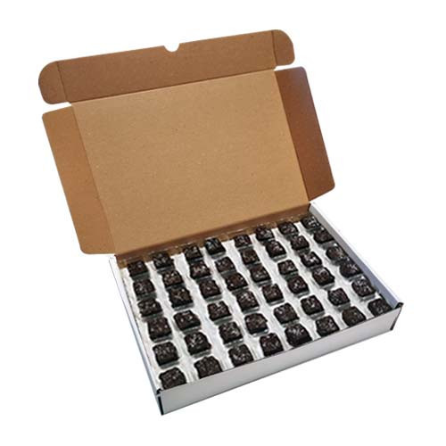 Loose Chocolates - Dark Chocolate with Lime Flavour Square Decorated with Cornish Sea Salt Enrobed (96 Chocolates Per Box)