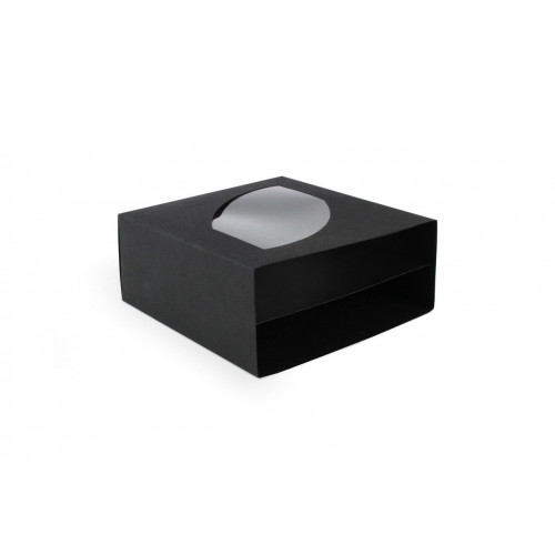 Black 18 Choc Luxury Drawer Outer Box with Shaped Feature Window 130mm x 57.5mm x 139mm