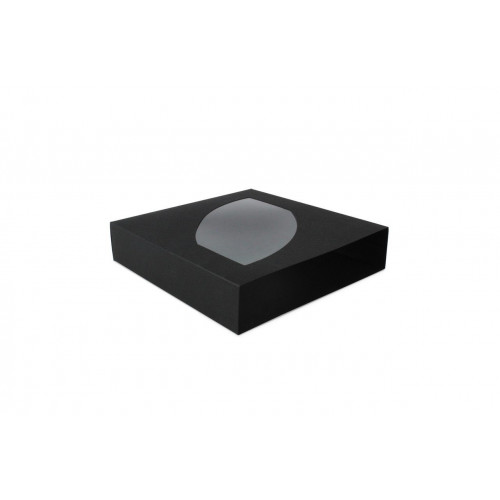 Black 9 Choc Luxury Drawer Outer Box with Shaped Feature Window 130mm x 29mm x 139mm