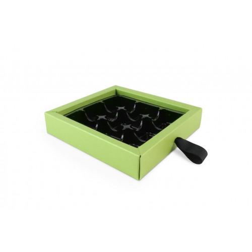 ElegantPremium Quality 9 Choc Drawer Buffer Box in Green Pearl Shimmer 130mm x 29mm x 139mm