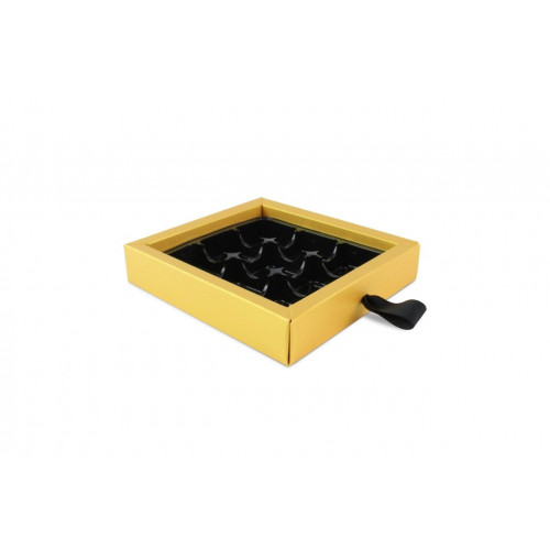 ElegantPremium Quality 9 Choc Drawer Buffer Box in Yellow Pearl Shimmer 130mm x 29mm x 139mm