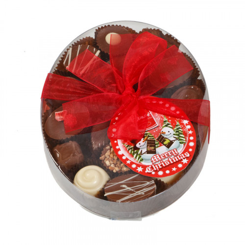 Christmas Snow Globe - Clear Boxed Chocolate Assortment (Medium) 140g Finished with a Beautiful Hand Tied Red Ribbon & Swing Tag