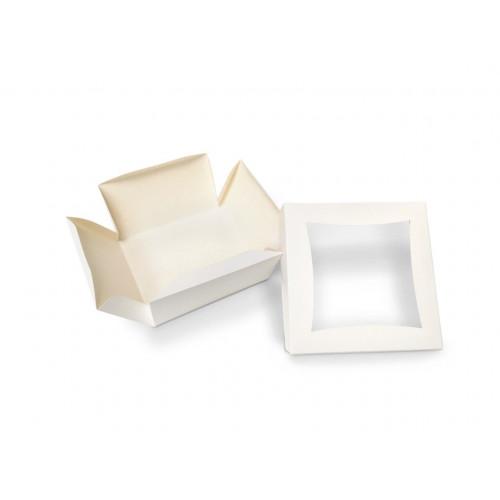 Medium Plain White Patisserie Cake Box - Single Wall Base & Fold-Up Window Lid 145mm x 145mm x 80mm Self-assemble