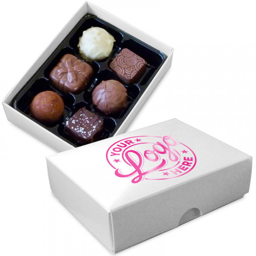 Promotional box of 6 chocolates with your logo foil printed in foil on the chocolate box lid. Choose from more than 12 different box colours and over 12 different foil colours.