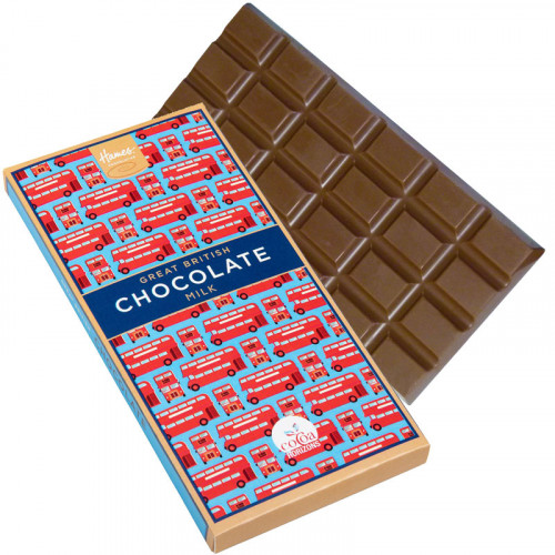 Great British Milk Chocolate Bar - Red London Bus Sleeve 80g (Cocoa Horizons) x Outer of 12