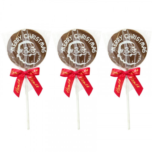 Christmas Jolly Lollies - Milk Chocolate Lolli with a Santa Face Graphic Design Finished with a Red Twist Tie Bow